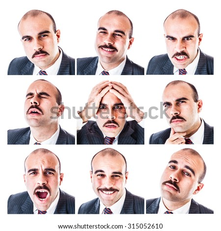 a collection of a businessman's different facial expressions isolated over a white background - stock photo