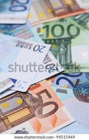 A collection of 20, 50 and 100 euro bank notes