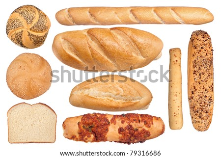 A collection of bread types including jalapeno, baguettes, kaiser, seasoned and sliced isolated on white. - stock photo