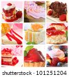 A collection of cake and fruit desserts. - stock photo