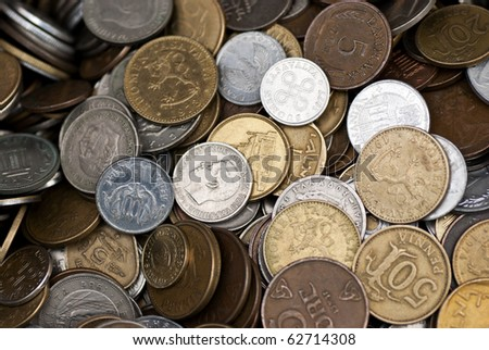 A collection of coins from different countries