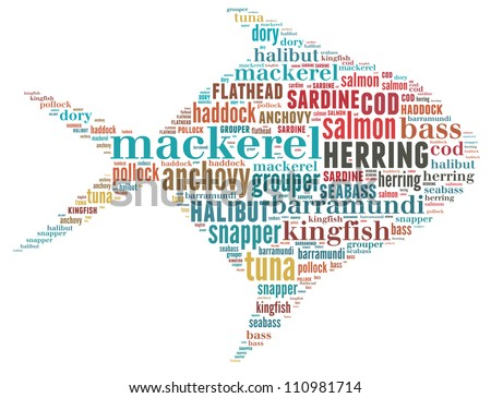 A collection of commercial fish: text graphics