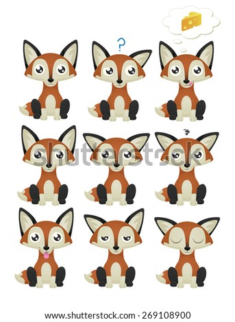 A collection of cute foxes with 9 different facial expressions. Raster. - stock photo