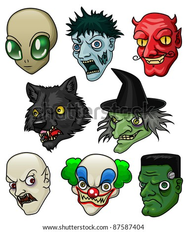 A collection of 8 different halloween monsters and creatures. Raster. - stock photo