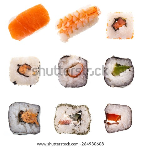 a collection of different types of Sushi including maki and nigiri isolated on white background for menu - stock photo