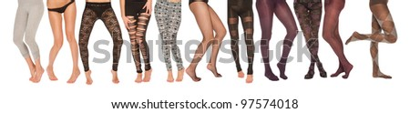 a collection of female legs in various poses - stock photo