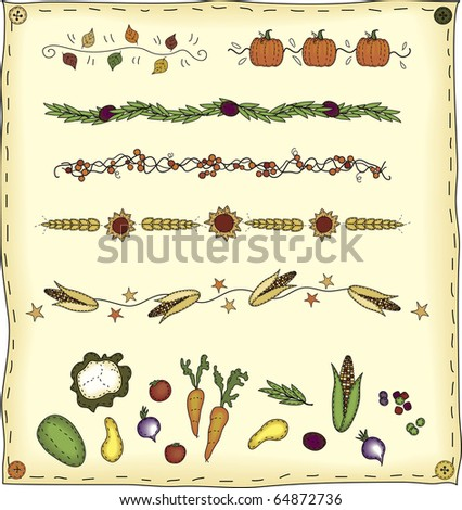 a collection of folk art styled dividers and elements - stock photo