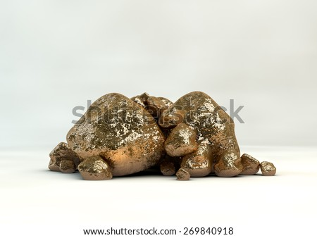 A collection of gold nuggets on an isolated white studio background