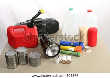 A collection of items necessary to survive in the aftermath of a hurricane - stock photo