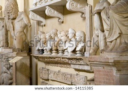 A collection of Roman head busts from the Vatican Museum - stock photo
