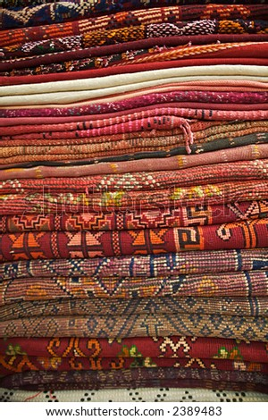 A collection of rugs in Marrakesh, Morocco. - stock photo