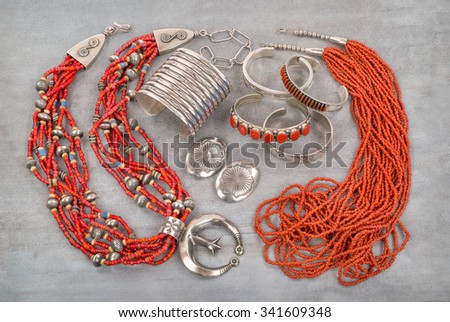 A Collection of Silver, Coral and Glass Bead Native American Jewelry. - stock photo