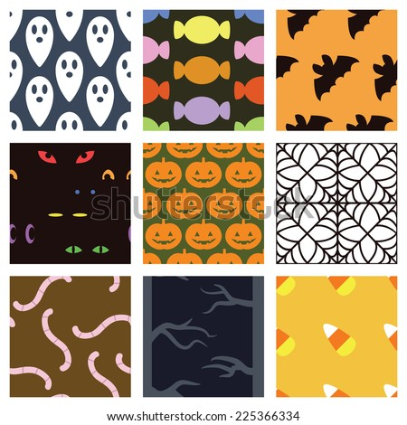 A collection of 9 simple Halloween backgrounds. Seamlessly repeatable. Raster. - stock photo