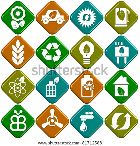 A collection of sixteen white eco icons with 3D background / Ecological icons - stock photo