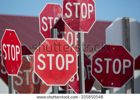A collection of stop signs