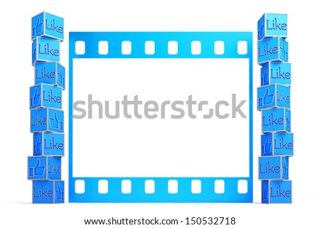 A collection of thumbs up in front of film frame template. Cubes with the word Like isolated on white. - stock photo