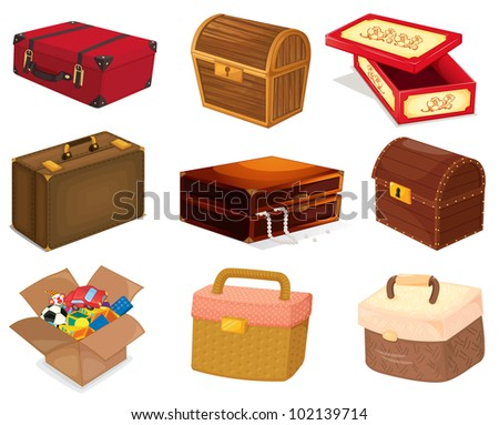A collection of various bags and boxes - EPS VECTOR format also available in my portfolio. - stock photo