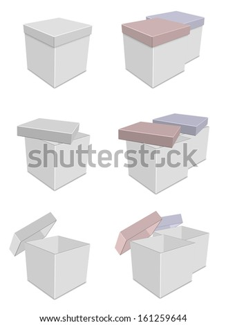 A collection of white boxes with different lid positions / White boxes - stock photo