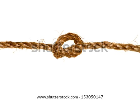 a Collection set of ropes with knot isolated on white background