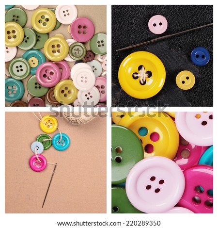 a collection with many buttons of different colors and sizes - stock photo