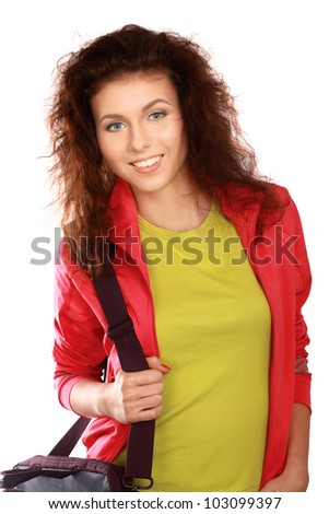A college girl holding a bag , isolated on white background
