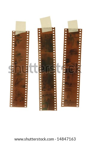 A Colored 35mm film isolated on white background - stock photo