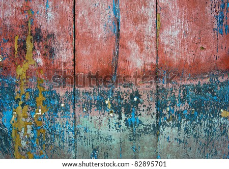 A colored wall of wood usable like a texture - stock photo