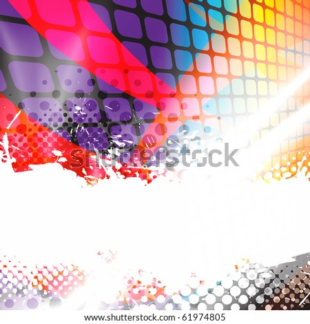 A colorful abstract background layout with halftone dots and negative space. - stock photo