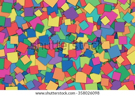 A Colorful Abstract Background with Scattered Squares - stock photo