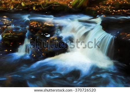 A colorful autumn scene of a small cascade waterfall - located in the Poconos of Pennsylvania, transformed into a colorful painting. The waterfall is located in the George W Childs State Park. - stock photo