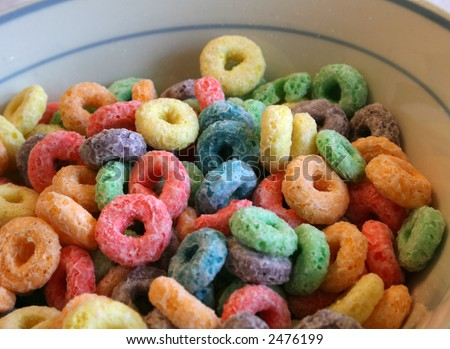 A colorful breakfast cereal - stock photo