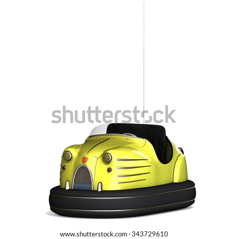 a colorful bumper car from the amusement park. 3D rendering with clipping path and shadow over white - stock photo