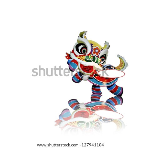 A colorful Chinese New Year celebration lion dance costume with a blank label for text isolated against white. - stock photo