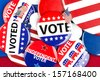 A colorful collection of American national political vote badges, - stock photo
