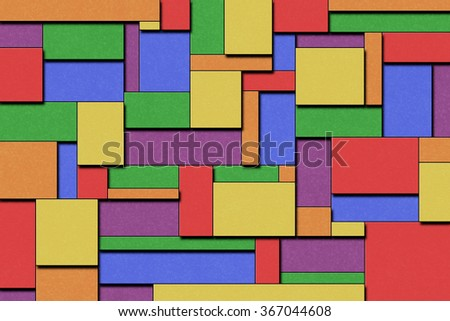 A Colorful Cubist Abstract Background with Squares and Paint Texture - stock photo