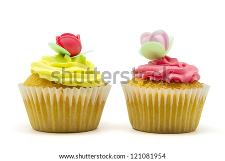 A colorful cupcakes on white background