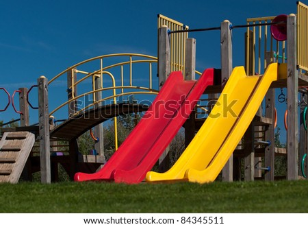 A colorful display of playground slides