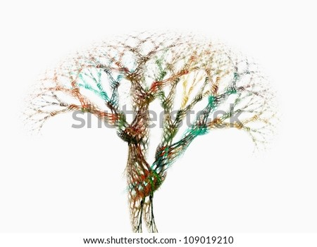 a colorful fractal maded in 3d - stock photo