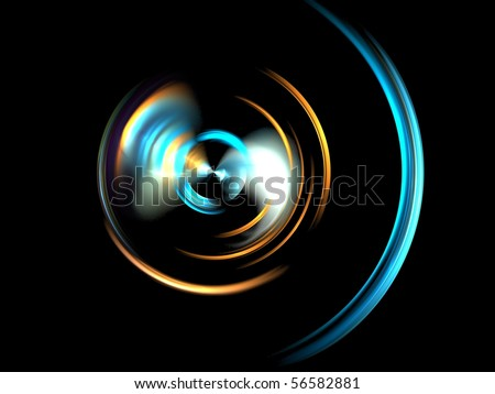 a colorful fractal on a black background - stock photo