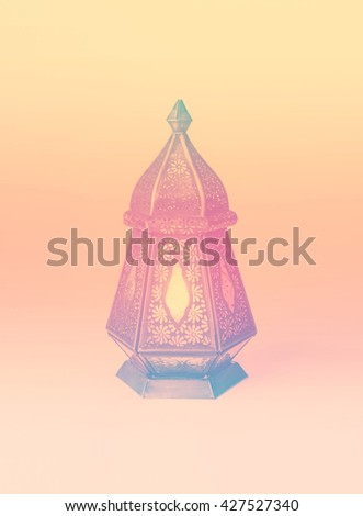 A colorful graphic design with a ramadan lamp. Stock photo of Ramadan background. - stock photo