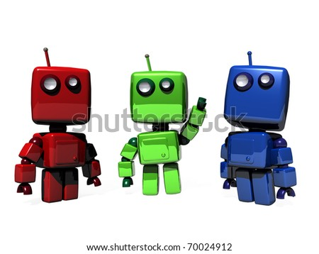 A colorful group of funny, 3D generated robots; RGB (Red, green, blue web colors) - stock photo