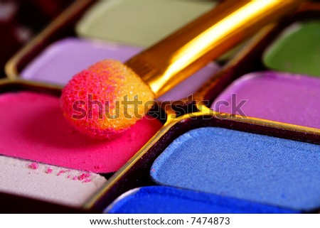A colorful make-up - cosmetics kit