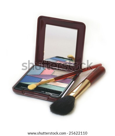 A colorful makeup set with applicators