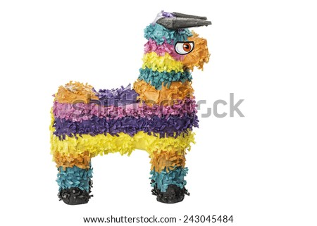 A colorful Mexican pinata isolated on a white background. - stock photo
