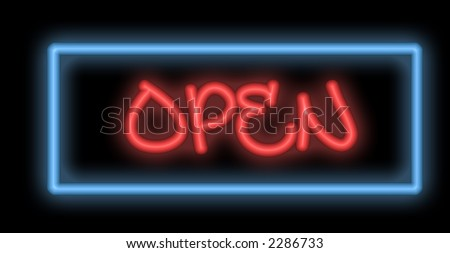 A colorful neon signboard show the word Open