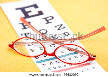 A colorful pair of eyeglasses rest on an eye chart. Bright yellow background. Shallow dof.