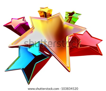 a colorful shining stars in the motion with stylistic distortion of dimensions - stock photo