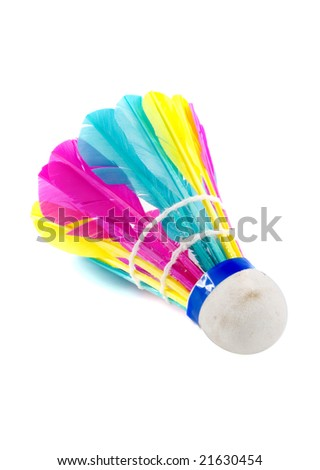 a colorful shuttlecock with feathers on the white background