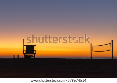 A colorful sunset at Hermosa Beach in Los Angeles, Aalifornia - stock photo