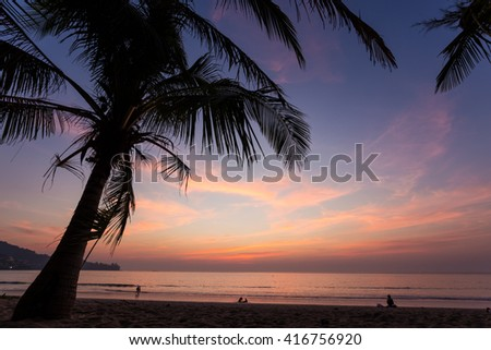 A colorful sunset seen from under a coconut tree at Kamala beach in Phuket Thailand - stock photo